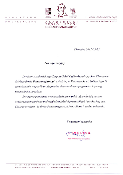 Akademicki Zespół Szkół Ogolnokształcących w Chorzowie Referencje
